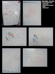 Size: 2000x2666 | Tagged: artist:great-5, high res, photo, pinkie pie, rainbow dash, safe, school, stylistic suck, tristan, trolling, whiteboard
