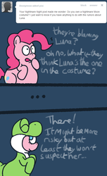 Size: 637x1049 | Tagged: abdominal bulge, artist:nidote-the-nidoran, ask, comic, costume, earth pony, female, impossibly large belly, mare, nightmare night, pinkie pie, pony, safe, super mario bros., the peckish pony, tumblr, yoshi