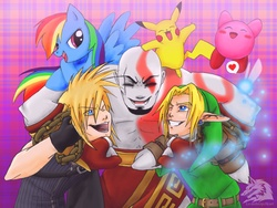 Size: 2000x1500 | Tagged: safe, artist:lycanthropeheart, rainbow dash, pikachu, cloud strife, crossover, final fantasy, final fantasy vii, god of war, happy, kirby, kirby (character), kratos, link, nintendo, smiling, the legend of zelda