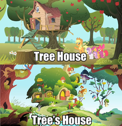 Size: 500x515 | Tagged: apple bloom, applejack, clubhouse, comic, crusaders clubhouse, cutie mark crusaders, fluttershy's cottage, fluttertree, pun, safe, scootaloo, sweetie belle, treehouse