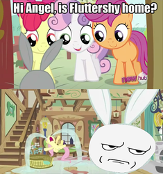 Size: 500x531   Tagged: safe, edit, edited screencap, screencap, angel bunny, apple bloom, fluttershy, scootaloo, sweetie belle, ponyville confidential, 2 panel comic, are you serious, comic, crying, cutie mark crusaders, face swap, meme, ocular gushers, rage face, river of tears