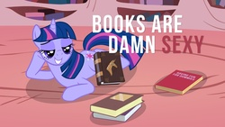Size: 1920x1080 | Tagged: safe, artist:dabuxian, twilight sparkle, pony, unicorn, bedroom eyes, book, damn sexy pose, female, golden oaks library, looking at something, mare, open mouth, prone, raised hoof, smiling, solo, that pony sure does love books, wallpaper