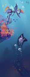 Size: 1724x4311 | Tagged: anthro, artist:holivi, jolly roger, rainbow dash, safe, ship, solo, sunken ship, underwater, water