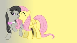 Size: 1366x766 | Tagged: safe, artist:hallfrost00, fluttershy, octavia melody, eyes closed, female, fluttertavia, kissing, lesbian, raised hoof, shipping, smiling, standing