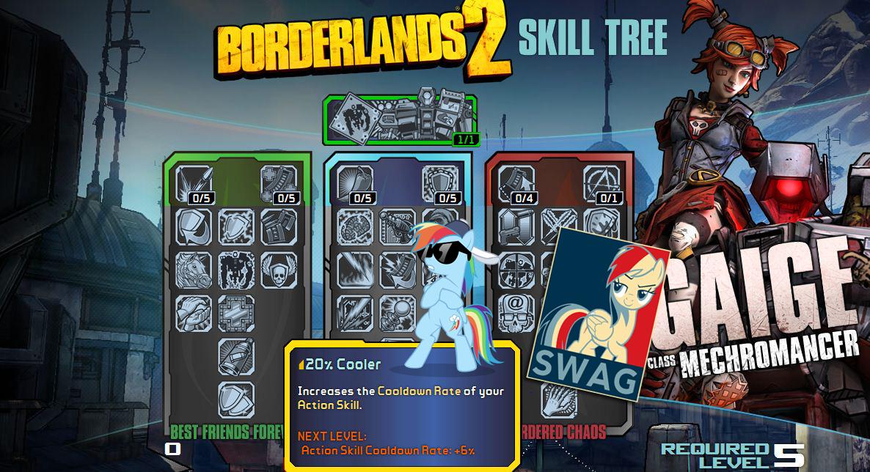 117751 20 Cooler Borderlands 2 Mechromancer Rainbow Dash Safe Skilltrees Swag Derpibooru My Little Pony Friendship Is Magic