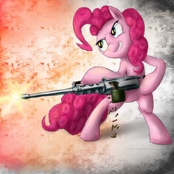 Size: 900x901 | Tagged: safe, artist:rule1of1coldfire, pinkie pie, browning m2, gun, machine gun, shooting, who needs trigger fingers