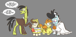 Size: 1133x551 | Tagged: safe, artist:egophiliac, carrot cake, cup cake, pinkie pie, pound cake, pumpkin cake, slice of pony life, bride of frankenstein, butter, cake family, cheese, clothes, colt, costume, family, female, filly, frankenstein's monster, gray background, male, mare, nightmare night, nightmare night costume, offscreen character, older, older pound cake, older pumpkin cake, simple background, stallion, tumblr