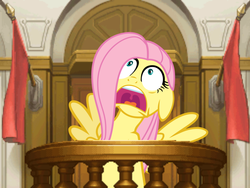 Size: 799x600 | Tagged: safe, edit, fluttershy, ace attorney, courtroom, crossover, panic, witness