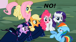 Size: 958x541 | Tagged: safe, edit, edited screencap, screencap, applejack, fluttershy, mare do well, pinkie pie, rainbow dash, rarity, twilight sparkle, the mysterious mare do well, image macro, mane six, mare do well costume, no