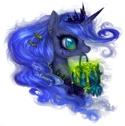 Size: 864x872 | Tagged: safe, artist:cizu, princess luna, alicorn, pony, adoracreepy, bust, creepy, cute, earring, ethereal mane, eyelashes, featured image, female, glowing, halloween, mouth hold, nightmare night, ooze, profile, running makeup, skull, smiling, solo, starry mane