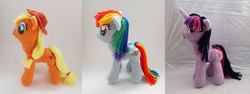 Size: 1500x563 | Tagged: amigurumi, applejack, artist:enphra, crochet, irl, photo, plushie, pony, rainbow dash, safe, twilight sparkle