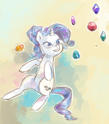 Size: 569x650 | Tagged: safe, artist:yattayattah, rarity, crystal pony, pony, unicorn, crystal, crystal rarity, female, gem, grin, mare, on back, smiling, solo