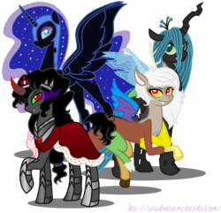 Size: 4000x3848 | Tagged: artist:jaquelindreamz, dead source, discord, draconequus, eris, female, king sombra, nightmare moon, queen chrysalis, queen umbra, rule 63, safe, simple background, the crystal empire, transparent background