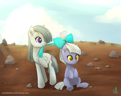 Size: 900x717 | Tagged: artist:starshinebeast, bow, cute, limestone pie, marble pie, pie sisters, rock farm, safe
