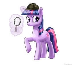 Size: 1100x1000 | Tagged: safe, artist:rautakoura, twilight sparkle, unicorn, detective, female, hat, magic, magnifying glass, my little investigations, sherlock holmes, sherlock sparkle, solo, unicorn twilight