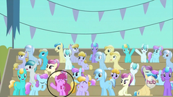 Size: 1437x803 | Tagged: safe, screencap, amber waves, berry punch, berryshine, bright smile, castle (crystal pony), crystal arrow, crystal beau, fleur de verre, ivory, ivory rook, night knight, rubinstein, sapphire joy, crystal pony, pony, season 3, the crystal empire, hub logo, hubble