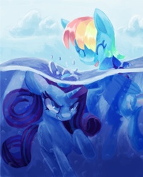 Size: 730x902 | Tagged: angry, artist:paintrolleire, beach, duo, eyes closed, female, mare, pegasus, pony, rainbow dash, rarity, safe, swimming, underwater, unicorn, water
