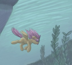 Size: 1000x900 | Tagged: artist:lurarin, safe, scootaloo, snorkel, swimming, underwater