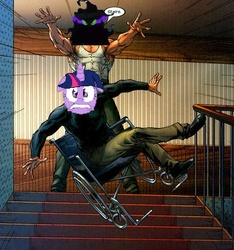 Size: 600x640 | Tagged: safe, king sombra, twilight sparkle, umbrum, season 3, the crystal empire, meme, mister sinister, one weakness, professor x, stairs, wheelchair, x-men, ytmnd