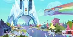Size: 1366x688 | Tagged: safe, edit, screencap, amber waves, bright smile, castle (crystal pony), crystal arrow, crystal beau, derpy hooves, dizzy twister, elbow grease, fleur de verre, ivory, ivory rook, lemon hearts, lucky clover, orange swirl, paradise (crystal pony), rainbow dash, sapphire joy, crystal pony, pony, the crystal empire, fake, flounder, hub logo, hubble