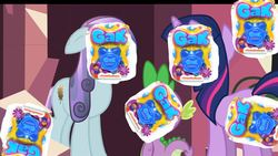Size: 1280x720 | Tagged: safe, sapphire joy, spike, twilight sparkle, crystal pony, pony, the crystal empire, gak, meme