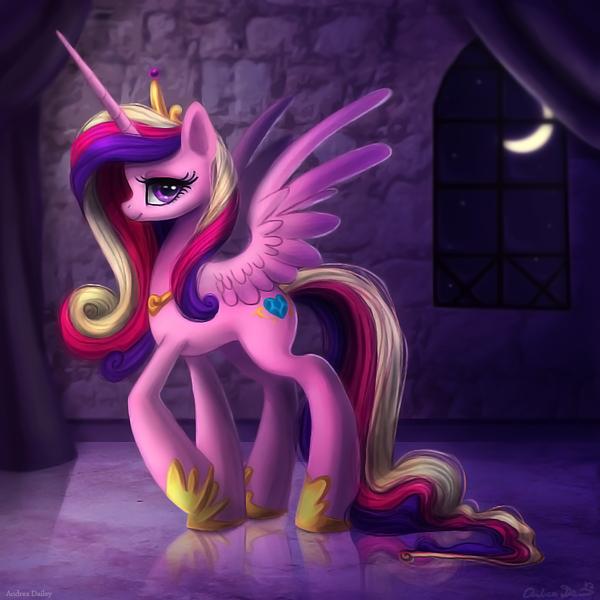 149079 - alicorn, artist:adailey, beautiful, castle, female, mare, moon,  pony, princess cadance, safe, solo - Derpibooru