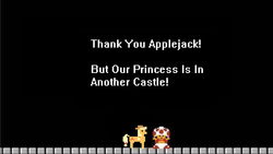 Size: 686x388 | Tagged: 8-bit, applejack, black background, pixel art, safe, simple background, super mario bros., toad (mario bros)