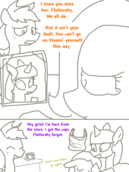 Size: 600x800   Tagged: source needed, safe, artist:the weaver, applejack, fluttershy, twilight sparkle, anxiety, bait and switch, comic, crying, cup, eyes closed, floppy ears, hug, open mouth, overly attached fluttershy, overreaction, picture frame, sad, simple background, smiling, weaver you magnificent bastard, white background