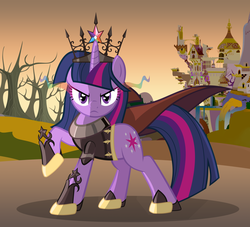 Size: 4176x3792 | Tagged: safe, artist:zelc-face, twilight sparkle, unicorn, canterlot, cape, clothes, crown, evil, jewelry, older, regalia, ruins, scowl, tree, tyrant sparkle, unicorn twilight, waterfall