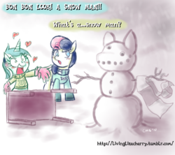 Size: 816x726 | Tagged: safe, artist:crabmeatstick, bon bon, lyra heartstrings, sweetie drops, clothes, gloves, heart, humie, scarf, snow, snowman, sweater