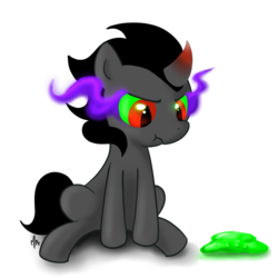 Size: 894x894   Tagged: safe, artist:gatodelfuturo, king sombra, colt, colt sombra, cute, gak, male, scrunchy face, simple background, sitting, solo, sombradorable, transparent background