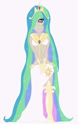 Size: 900x1420 | Tagged: artist:ayearie, cyclops, humanized, princess celestia, safe