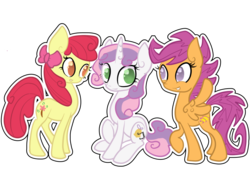 Size: 1000x700 | Tagged: apple bloom, artist:otterlore, cutie mark, cutie mark crusaders, older, safe, scootaloo, simple background, sweetie belle, transparent background
