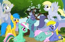 Size: 2000x1300   Tagged: safe, artist:aquaticneon, artist:birthofthepheonix, artist:cloudshadezer0, artist:kooner-cz, artist:lilcinnamon, artist:silentmatten, bubblecup, bubbles (g1), derpy hooves, fizzy, minty, earth pony, pegasus, pony, twinkle eyed pony, unicorn, g1, g2, g3, g4, bubble, coat markings, cute, derp, derpabetes, derpy hooves (g1), facial markings, female, fizzybetes, flying, g1 to g4, g2 to g4, g3 to g4, generation leap, mare, mintabetes, precious, star (coat marking), valentine