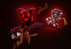 Size: 1100x758 | Tagged: safe, artist:mickeymonster, apple bloom, scootaloo, sweetie belle, pony, zombie, pony pov series, story of the blanks, the return of harmony, alex warlorn, black background, blanked apple bloom, cutie mark crusaders, discorded, doll, fanfic, fanfic art, fear, living doll, red eyes, reharmonized ponies, running away, scared, scary, simple background