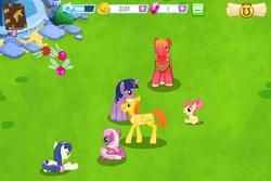 Size: 960x640 | Tagged: safe, apple bloom, big macintosh, bon bon, carrot cake, cheerilee, sweetie drops, twilight sparkle, earth pony, parasprite, pony, gameloft, male, stallion