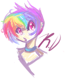 Size: 501x593 | Tagged: artist:babehsbby, humanized, makeup, portrait, rainbow dash, safe, solo