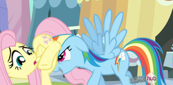 Size: 1358x667 | Tagged: fluttershy, hub logo, out of context, pushing, rainbow dash, rump push, safe, screencap, spoiler:s03, the crystal empire