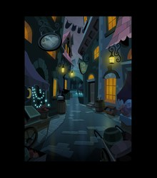 Size: 1411x1600 | Tagged: safe, artist:phil caesar, magic duel, alley, background, canterlot, official