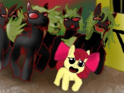 Size: 800x600 | Tagged: safe, apple bloom, zombie, pony pov series, story of the blanks, alex warlorn, fanfic, fanfic art, fear, reharmonized ponies, sunny town