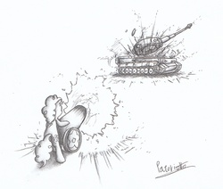 Size: 1154x977 | Tagged: safe, artist:patoriotto, pinkie pie, monochrome, party cannon, tank (vehicle), tiger i, traditional art