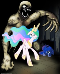Size: 1280x1586 | Tagged: safe, artist:pinkanon, princess celestia, princess luna, alicorn, two best sisters play, cowering, eerie, female, floppy ears, galloping, glowing horn, gritted teeth, hiding, horn, lying, lying down, magic, prone, running, scared, wide eyes