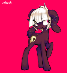 Size: 800x879 | Tagged: safe, artist:cthulhugenocidist, artist:dogrot, oc, oc only, goat, red background, simple background, skull, solo