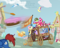 Size: 900x723 | Tagged: safe, artist:the-loneknight, apple bloom, applejack, bon bon, derpy hooves, fluttershy, granny smith, holly dash, lightning bolt, lyra heartstrings, pinkie pie, princess luna, rainbow dash, rarity, roseluck, scootaloo, spike, sunshower raindrops, sweetie drops, white lightning, oc, pegasus, pony, buggy, cake, carriage, cupcake, female, fight, flag, mare, noodle incident, party cannon, pie, random, wat