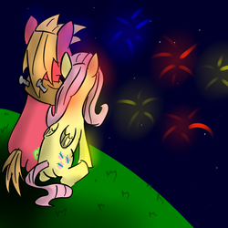 Size: 900x900 | Tagged: artist:seabastian, big macintosh, earth pony, fireworks, fluttermac, fluttershy, male, pony, safe, shipping, stallion, straight