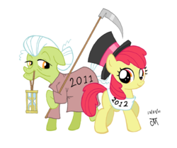 Size: 556x464 | Tagged: apple bloom, artist:jeffmartinez, granny smith, safe