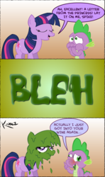 Size: 640x1080 | Tagged: artist:fr33z3dry, comic, drunk, gross, safe, spike, twilight is not amused, twilight sparkle, underaged drinking, vomit
