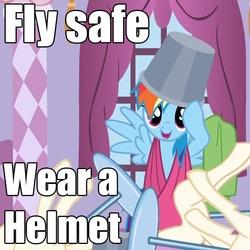 Size: 658x658 | Tagged: safe, rainbow dash, advice, bucket, bucketdash, cute, headbucket, image macro