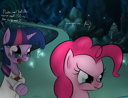 Size: 1300x1000 | Tagged: artist:rodolfomushi, clothes, duo, earth pony, fangs, glasses, lab coat, mirror pool, pinkie pie, pony, safe, too many pinkie pies, twilight sparkle, unicorn