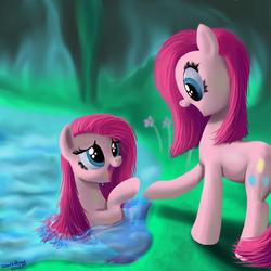 Size: 2000x2000   Tagged: safe, artist:deathpwny, pinkie pie, earth pony, pony, too many pinkie pies, cave, cave pool, clone, cute, cuteamena, duality, female, mirror pool, pinkamena diane pie, pinkie clone, too many pinkamenas
